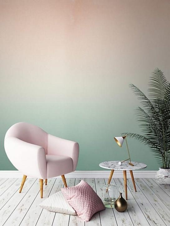 Diese Tapeten Mit Farbverlauf Wollen Wir Sofort Haben Innenarchitektur Mit Wandfarben Foto